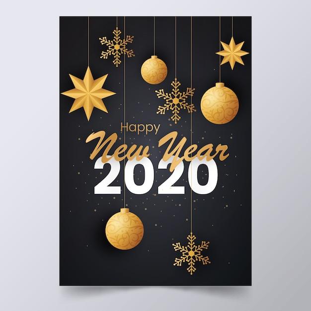Nowy Rok 2020 Elegancki Plakat Z Wiszącymi Dekoracjami Darmowych Wektorów