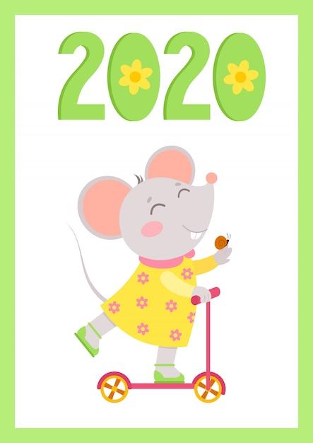 Nowy Rok 2020 Płaskie Wektor Plakat Z Szablonem Myszy. Mała Myszka Jeździ Na Skuterze Ze ślimakiem Na Dłoni Premium Wektorów
