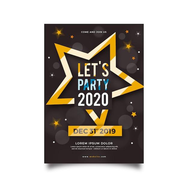 Nowy Rok 2020 Szablon Ulotki Partii W Płaskiej Konstrukcji Darmowych Wektorów