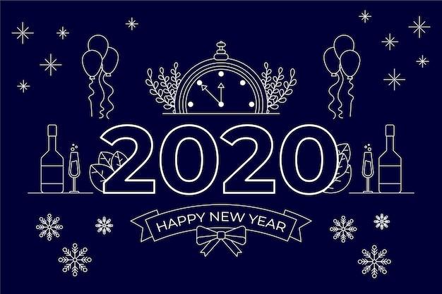 Nowy Rok 2020 Tło W Stylu Konspektu Darmowych Wektorów