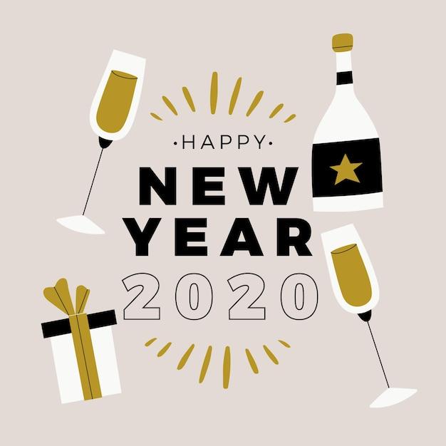 Nowy rok 2020 w płaskiej konstrukcji Darmowych Wektorów