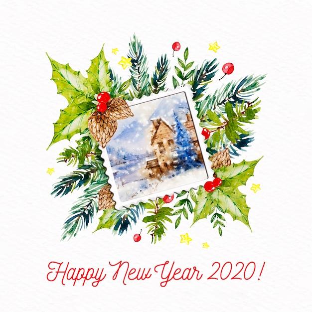 Nowy rok 2020 z pieczęcią pocztówki Darmowych Wektorów