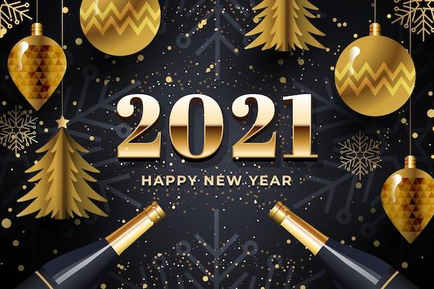 Nowy Rok 2021 Tło Z Realistyczną Złotą Dekoracją Darmowych Wektorów