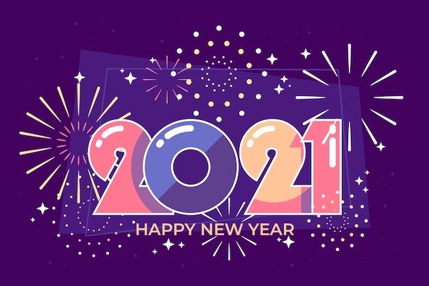 Nowy Rok 2021 W Płaskiej Konstrukcji Darmowych Wektorów