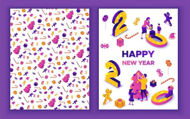 Nowy rok izometryczny kartkę z życzeniami Premium Wektorów