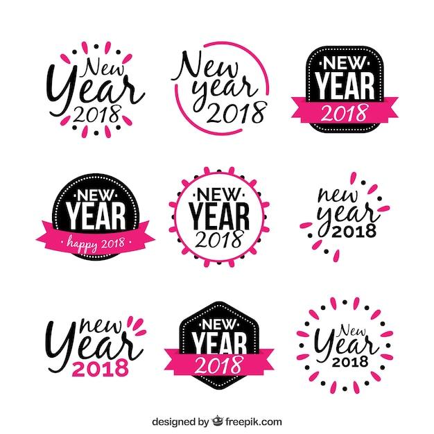 Nowy rok naklejki w kolorze czarnym i różowym Darmowych Wektorów