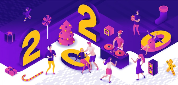 Nowy Rok Party 3d Izometryczny Premium Wektorów