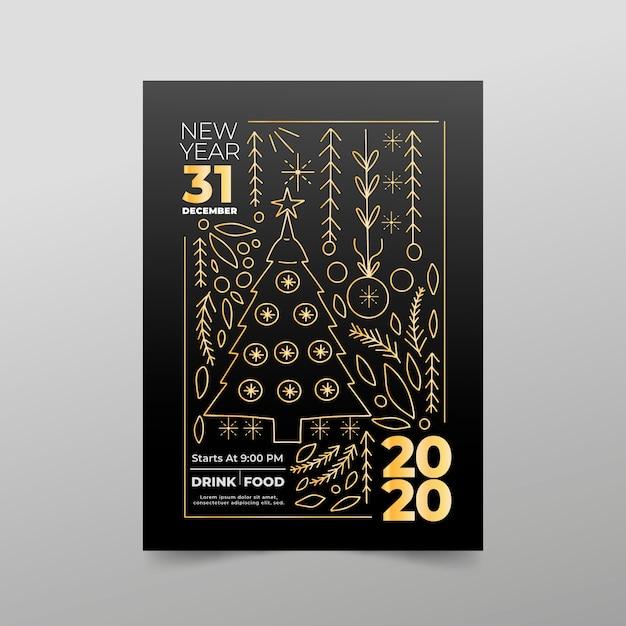 Nowy rok party plakat szablon w stylu konspektu Darmowych Wektorów