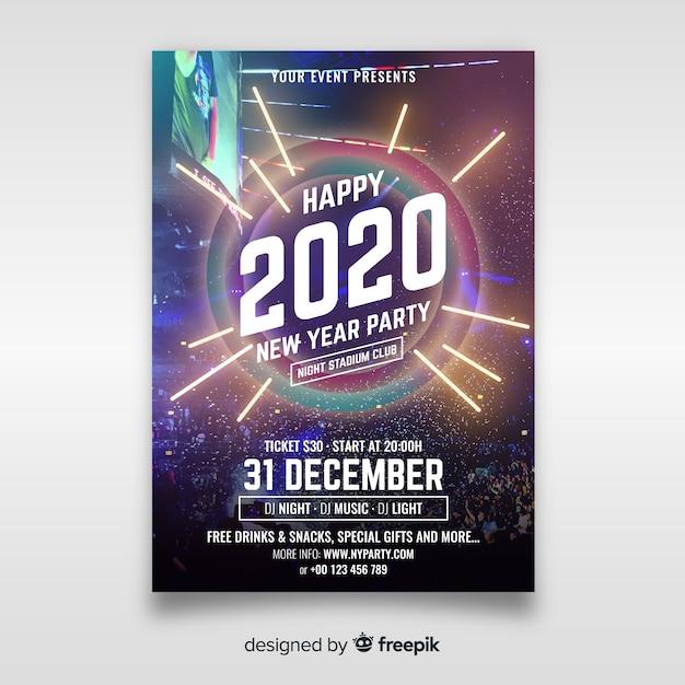 Nowy Rok Party Plakat Szablon Ze Zdjęciem Darmowych Wektorów