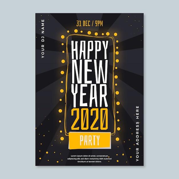Nowy rok party ręcznie rysowane plakat szablon Darmowych Wektorów