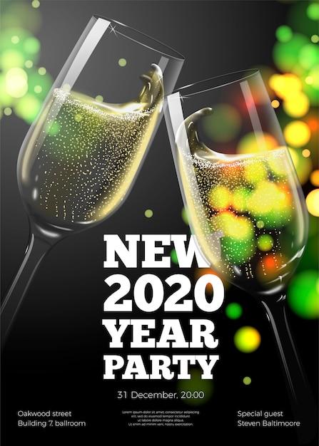 Nowy rok plakat szablon z przezroczystymi kieliszkami do szampana na jasnym tle Premium Wektorów