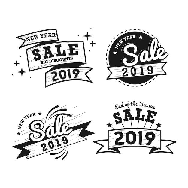 Nowy rok sprzedaż odznaka wektor zestaw Darmowych Wektorów