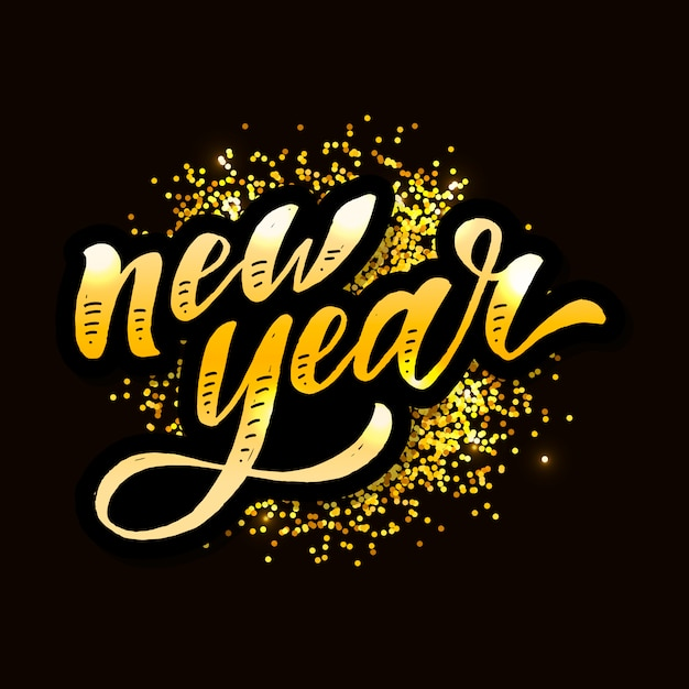 Nowy rok świąteczny napis kaligrafia pędzel tekst holiday sticker złota Premium Wektorów
