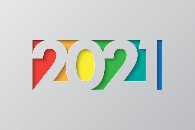 Nowy Rok Tło W Stylu Cięcia Papieru. świąteczny Szablon Premii Za Kartkę Z życzeniami Premium Wektorów