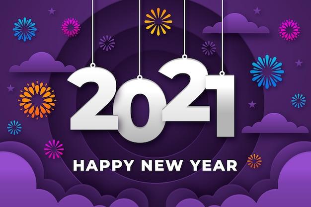 Nowy Rok Tło W Stylu Papieru Darmowych Wektorów