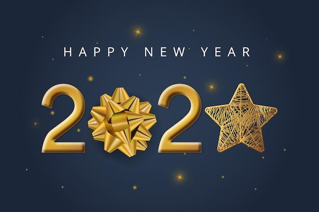 Nowy Rok Tło Z Kokardą Prezent Darmowych Wektorów