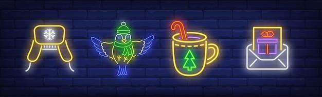 Nowy Rok W Kolekcji W Stylu Neonowym Darmowych Wektorów