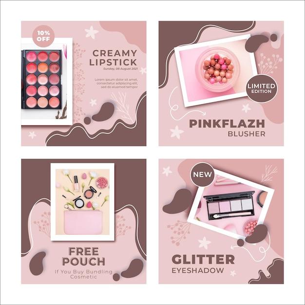 Nowy Szablon Postów Na Instagramie Produktów Do Makijażu Darmowych Wektorów