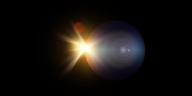Nowy Widok Gwiazdy Jasne Słońce Z Kosmosu. Premium Wektorów