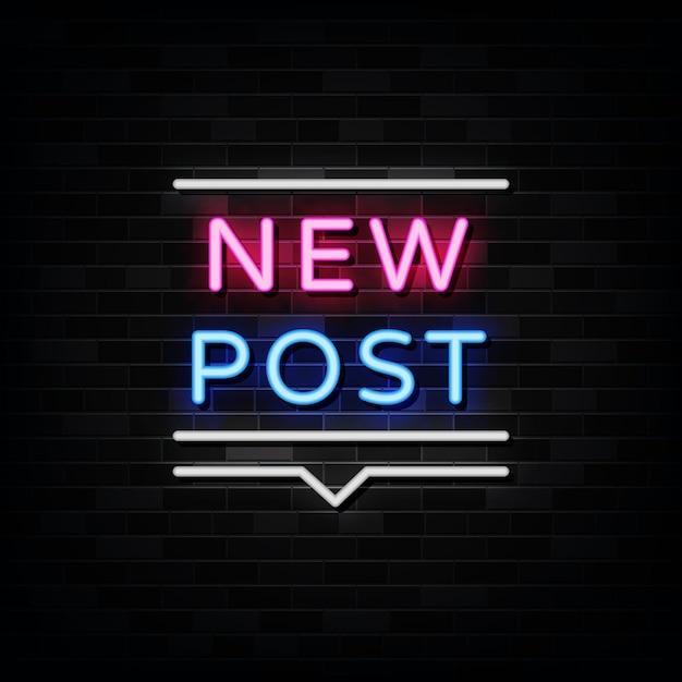 Nowy Znak Neonowy Post, Szablon Premium Wektorów