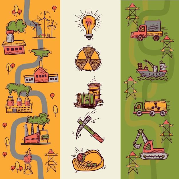 Nuclear Banery Energetyczne Kolekcji Premium Wektorów
