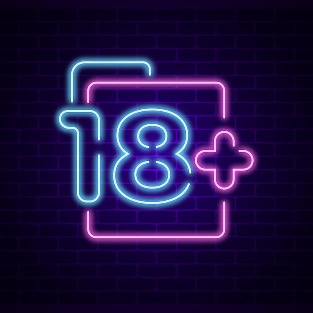 Numer 18+ W Stylu Neonowym Darmowych Wektorów