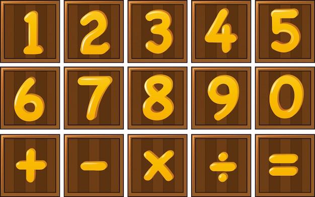 Numer Jeden Do Zera I Znaki Matematyczne Na Drewnianych Deskach Darmowych Wektorów