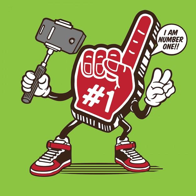 Numer jeden piankowy znak dłoni selfie projektowanie postaci Premium Wektorów