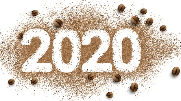 Numer Tekstowy Kawy 2020. Ziarna Kawy W Proszku. Prosty Premium Wektorów