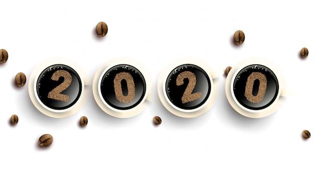 Numer Tekstowy Ziaren Kawy 2020. Filiżanka Gorącej Kawy Z Proszkiem. Prosty Premium Wektorów