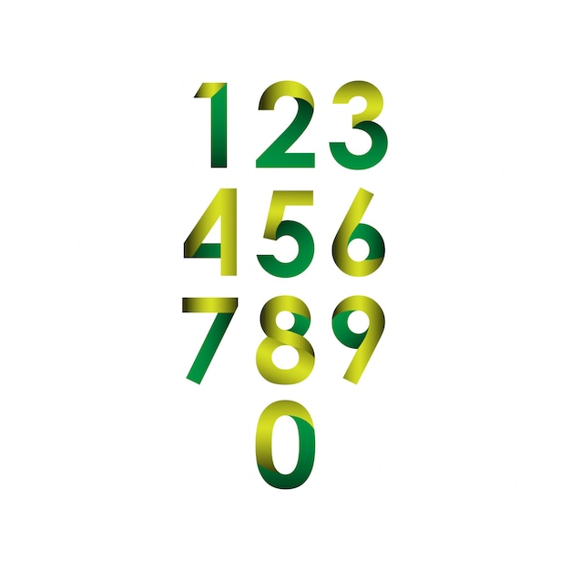 Numer zestaw ilustracji wektorowych szablon projektu Premium Wektorów
