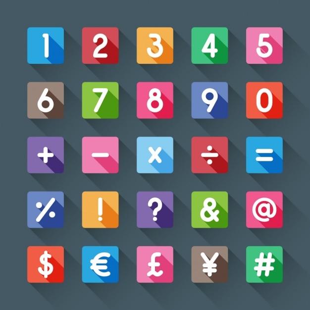 Numery i symbole kolorów Darmowych Wektorów