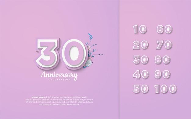 Numery Rocznicowe 10–100 Premium Wektorów