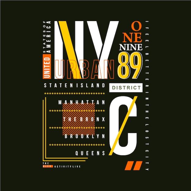 Nyc Ramka Graficzna Typografia Wektor T Shirt Projekt Premium Wektorów