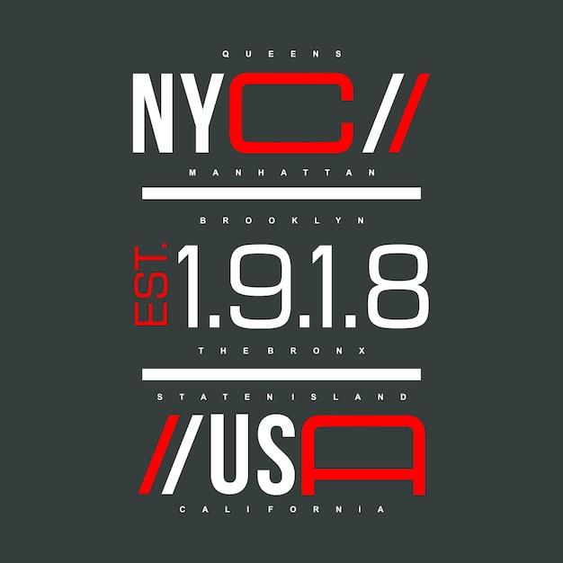 Nyc / Usa Projekt Graficzny Denim Miejski Kultura Premium Wektorów