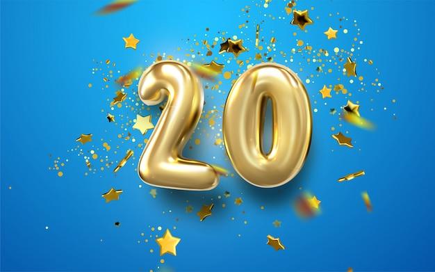 Obchody 20. Rocznicy. Złote Cyfry Z Błyszczącymi Konfetti, Gwiazdkami Premium Wektorów