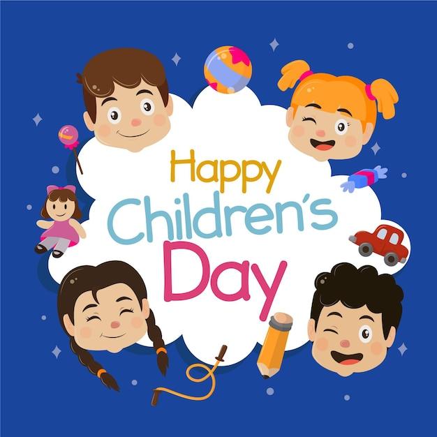 Obchody Dnia Szczęśliwego Dziecka Premium Wektorów
