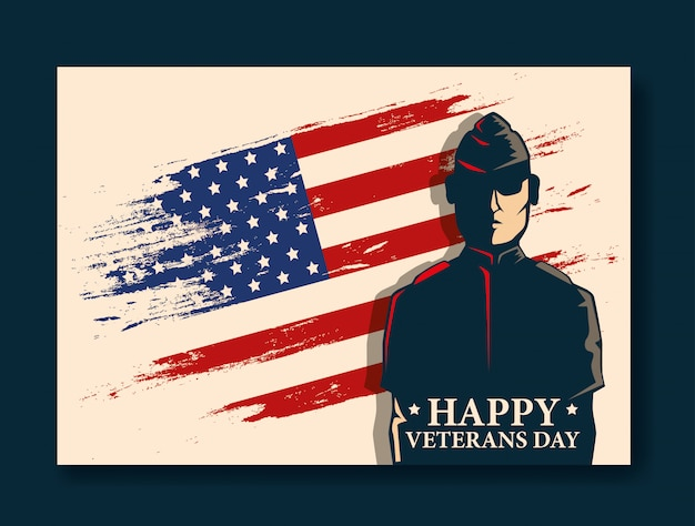 Obchody dnia szczęśliwy weteranów z wojskowych i flagi Premium Wektorów