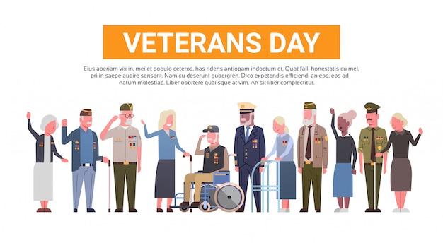 Obchody Dnia Weteranów National American Holiday Banner Z Grupą Emerytów Wojskowych Premium Wektorów