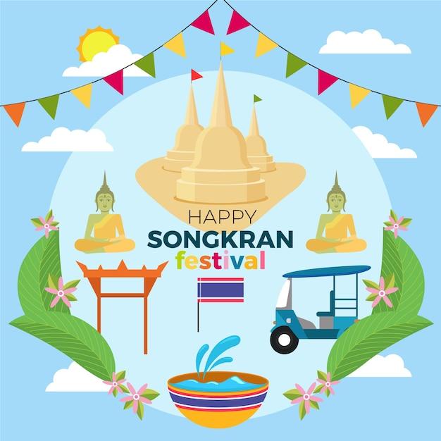 Obchody Festiwalu Songkran Płaska Konstrukcja Darmowych Wektorów