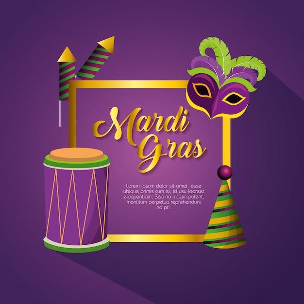 Obchody mardi gras z dekoracji ramy i szablonu karty Darmowych Wektorów