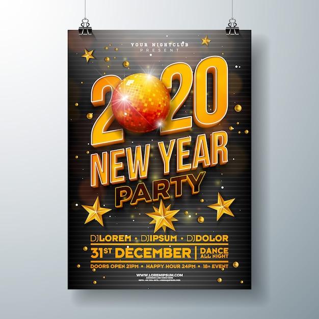 Obchody Nowego Roku Party Plakat Szablon Projektu Darmowych Wektorów