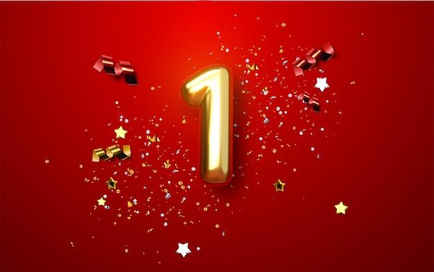 Obchody Pierwszej Rocznicy. Złota Liczba 1 Z Błyszczącymi Konfetti, Gwiazdkami, Brokatami I Wstążkami Premium Wektorów