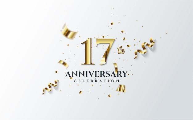 Obchody Rocznicy Z Ilustracją 17-tej Liczby W Złocie I Porozrzucanych Kawałków Złotego Papieru. Premium Wektorów
