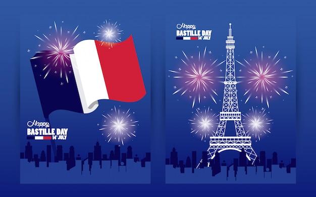 Obchody Szczęśliwego Dnia Bastylii Z Wieżą Eiffla I Fajerwerkami Premium Wektorów