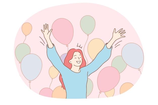 Obchody Urodzin, Wakacje, Koncepcja Partii. Młoda Szczęśliwa Kobieta Czuje Się Podekscytowany Podczas Wakacji Premium Wektorów