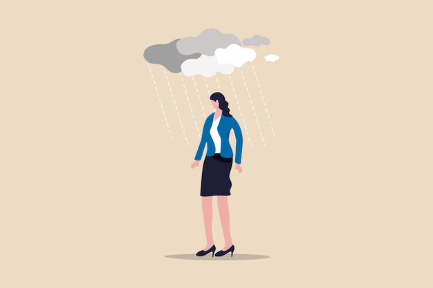 Obciążenie Pracą I Stres Powodujące Depresję W Chorobie Psychicznej Pracownika Biurowego Premium Wektorów