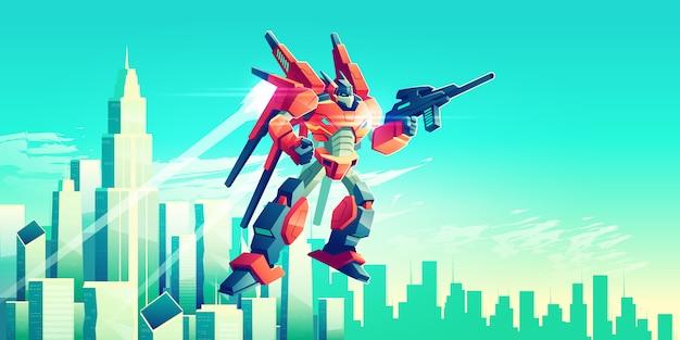 Obcy wojownik, uzbrojony robot transformatorowy lecący na niebie pod nowoczesnymi wieżowcami metropolii Darmowych Wektorów