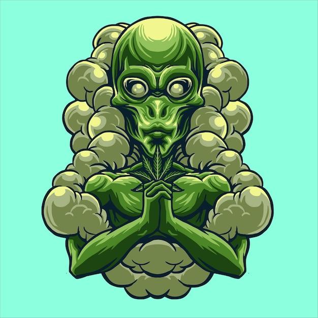 Obcy Z Ilustracją Projektu Marihuany Premium Wektorów