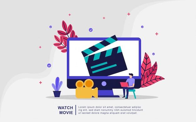 Obejrzyj film ilustracja koncepcji. strumieniowe przesyłanie wideo i filmów Premium Wektorów